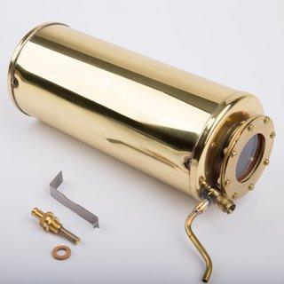 Kessel mit Federsicherheitsventil inkl. Glas und Befestigungsklammer messing blank - Wilesco Ersatzteile