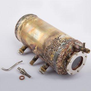 Kessel mit Federsicherheitsventil inkl. Glas, roh-nicht vernickelt und poliert - Wilesco Ersatzteile