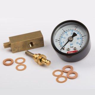Manometersockel messing, 12 x 12 mm Gewindestutzen M6 x 0,75 mit Federsicherheitsventil und Manometer - Wilesco Ersatzteile